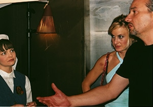 Reagan Dale Neis, Kirsty Hinchcliffe and Goran Pavicevic in Dirty Habit elevator